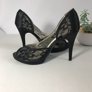 LULU TOWNSEND Lace Peep-Toe Shoes